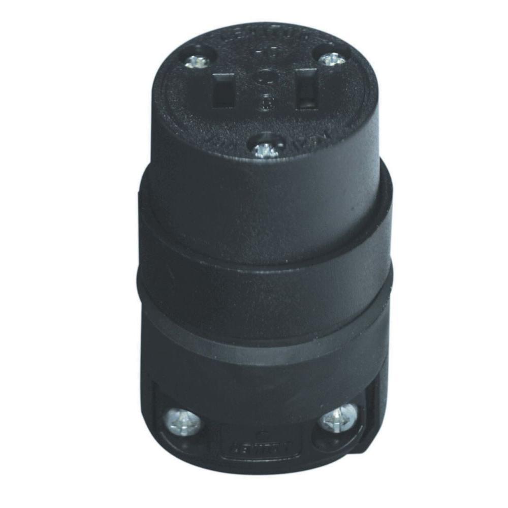 Leviton 15 Amp Polarized Rubber Round Connector, Black-115CR - The ...