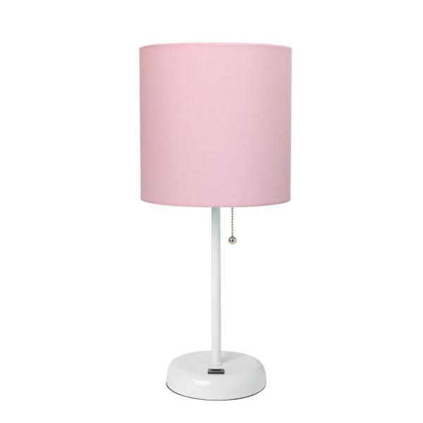 19.5 in. Pink and White Stick Lamp with USB Charging Port