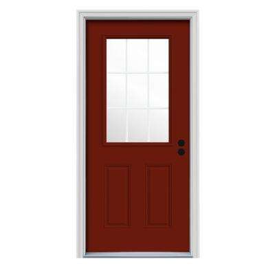 32 in. x 80 in. 9 Lite Mesa Red Painted w/White Interior Steel Prehung Left-Hand Inswing Front Door w/Brickmould