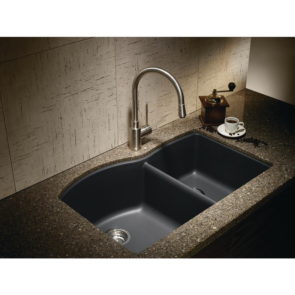 Blanco DIAMOND Undermount Granite Composite 32 in. 60/40 Double Bowl  Kitchen Sink in Anthracite