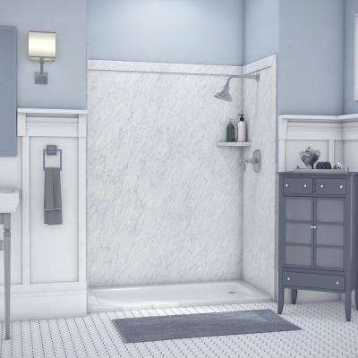 Royale 36 in. x 60 in. x 80 in. 11-Piece Easy Up Adhesive Alcove Bathtub/Shower Wall Surround in Frost