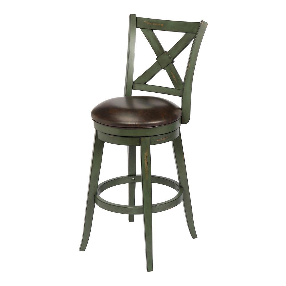 Green bar height swivel bar stool individual