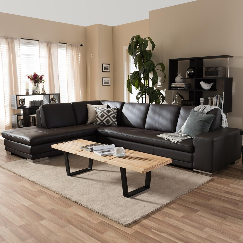 Contemporary Brown Faux Leather Upholstered Left Facing