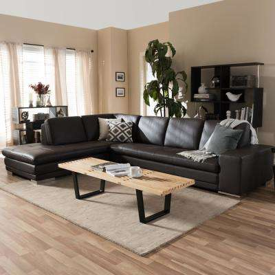 Callidora 2 Piece Contemporary Brown Faux Leather Upholstered Left Facing  Chase Sectional Sofa