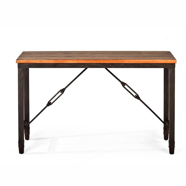 Ashford Antique Honey Pine and Iron Industrial Sofa Table