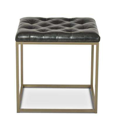 Glenda Upholstered End Table Metallic Charcoal Gray