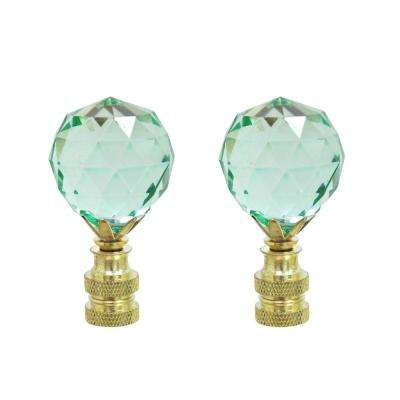 2-1/4 in. Light Blue Faceted Crystal Lamp Finial with Brass Plated Finish (2-Pack)