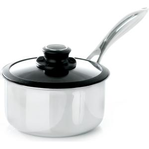 Black Cube 2.5 qt. Stainless Steel Nonstick Sauce Pan with Glass Lid