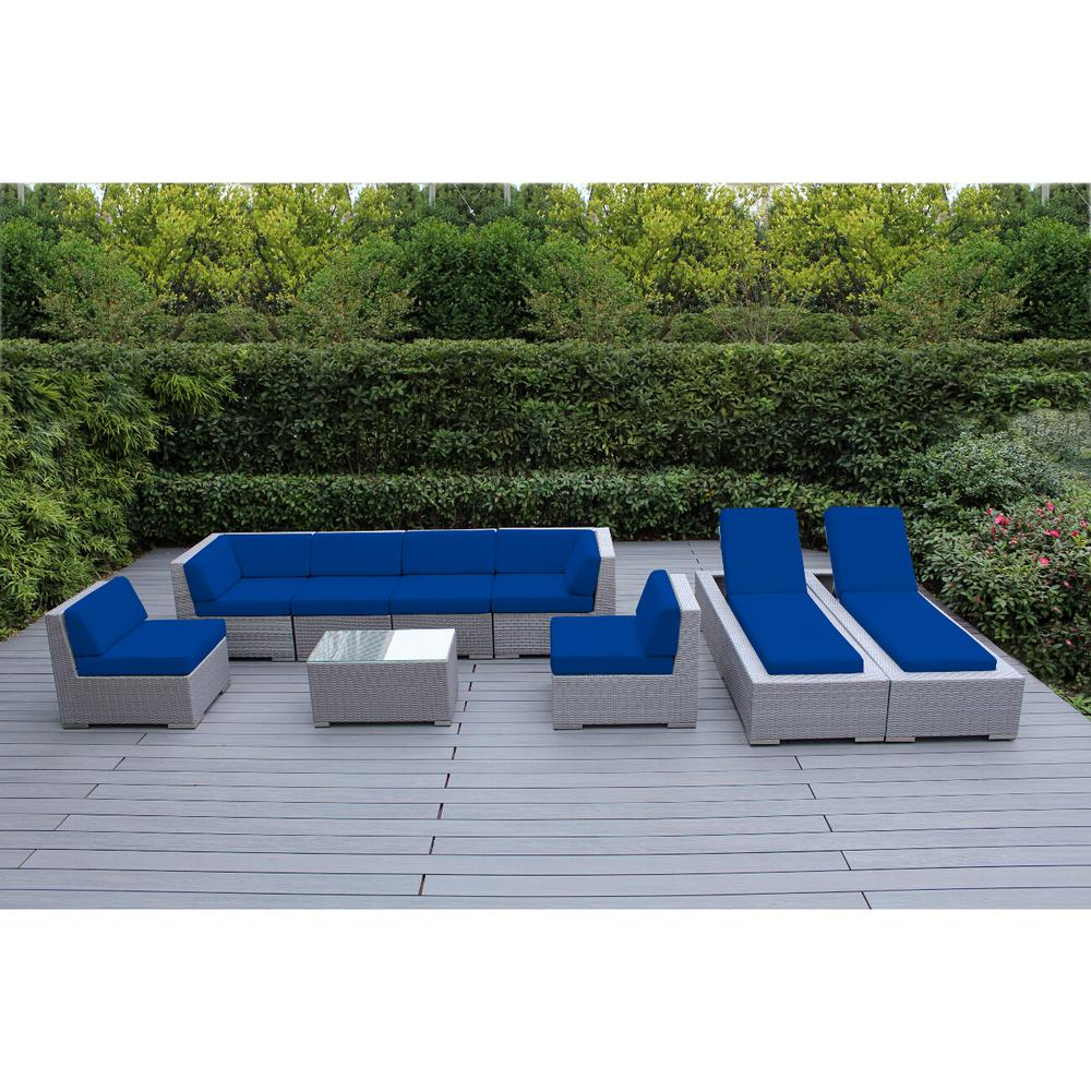 Ohana Depot Gray 9-Piece Wicker Patio Combo Conversation Set with Sunbrella Pacific Blue Cushions
