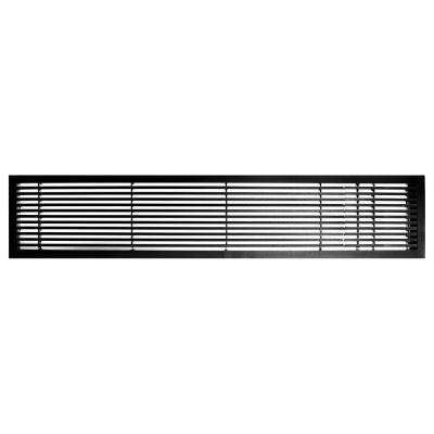 AG20 Series 6 in. x 36 in. Solid Aluminum Fixed Bar Supply/Return Air Vent Grille, Black-Gloss with Right Door