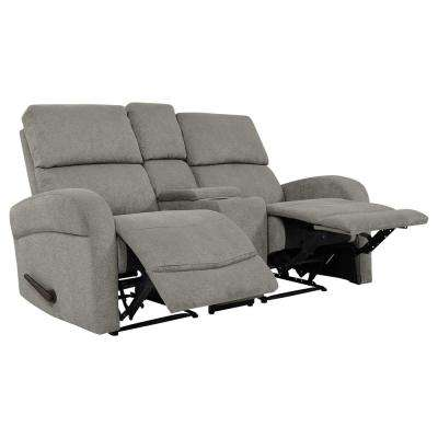 Warm Gray Chenille 2-Seat Recliner Loveseat with Power Storage Console