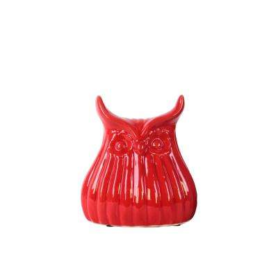 7.25 in. H Owl Decorative Figurine in Red Gloss Finish