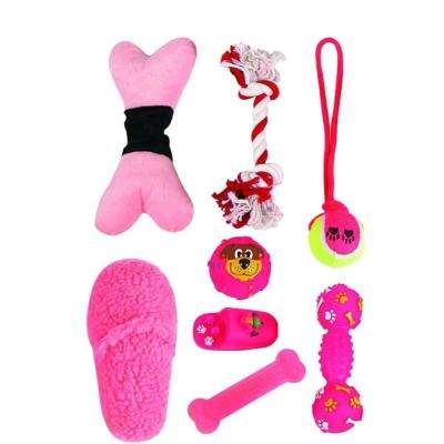 Duffle Pet Dog Plush Rubber Jute Rope Squeak Toy Set in Pink (8-Piece)