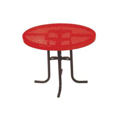 36 in. Diamond Red Commercial Park Low Round Portable Table