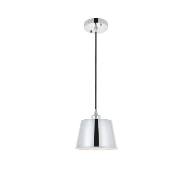 Timeless Home Nathaniel 1-Light Pendant in Chrome with in. W x in. H Shade