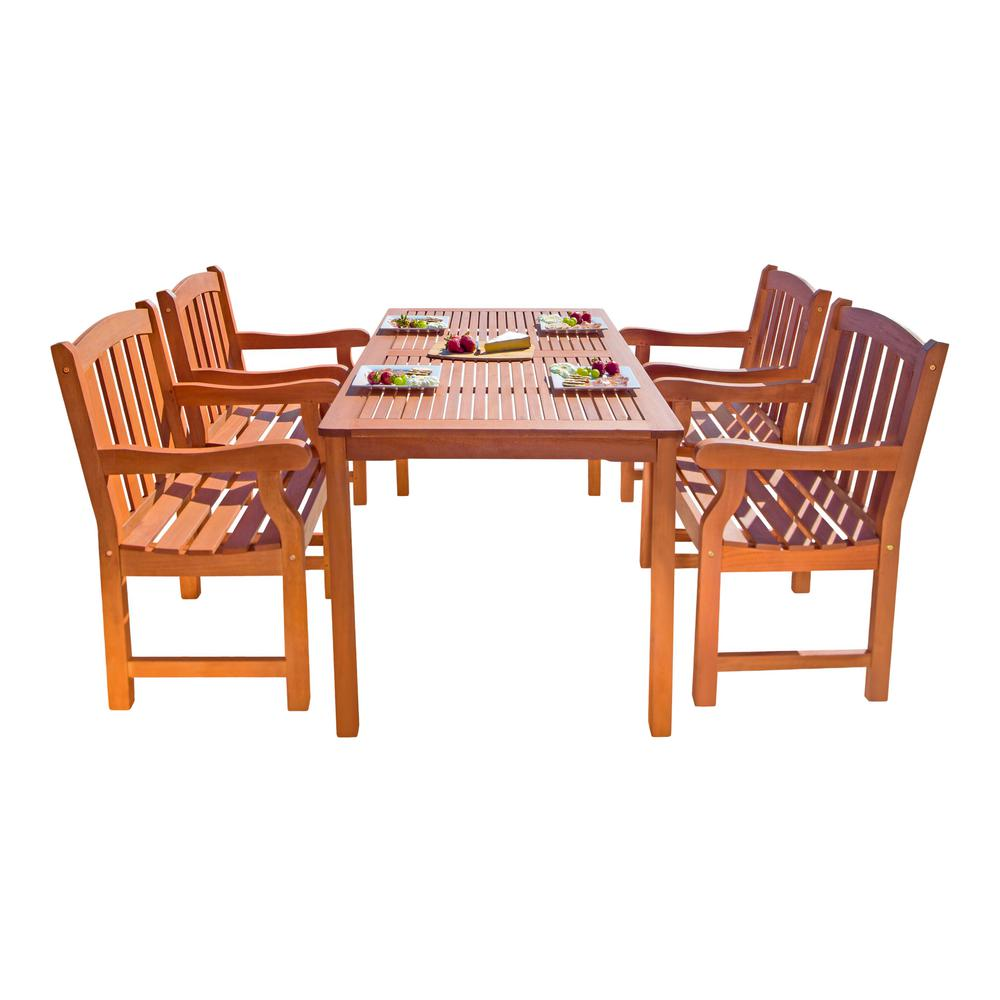 Malibu 5-Piece Wood Rectangle Outdoor Dining Set