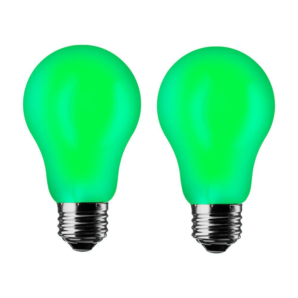 meilo green a19 7w led light bulb 2 pack a19 gr 2pk the home depot. Black Bedroom Furniture Sets. Home Design Ideas