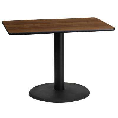 24 in. x 42 in. Rectangular Walnut Laminate Table Top with 24 in. Round Table Height Base