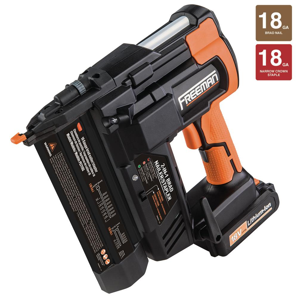 Freeman Freeman 18-Volt 2-in-1 18-Gauge Cordless Nailer and Stapler with Lithium Ion Batteries