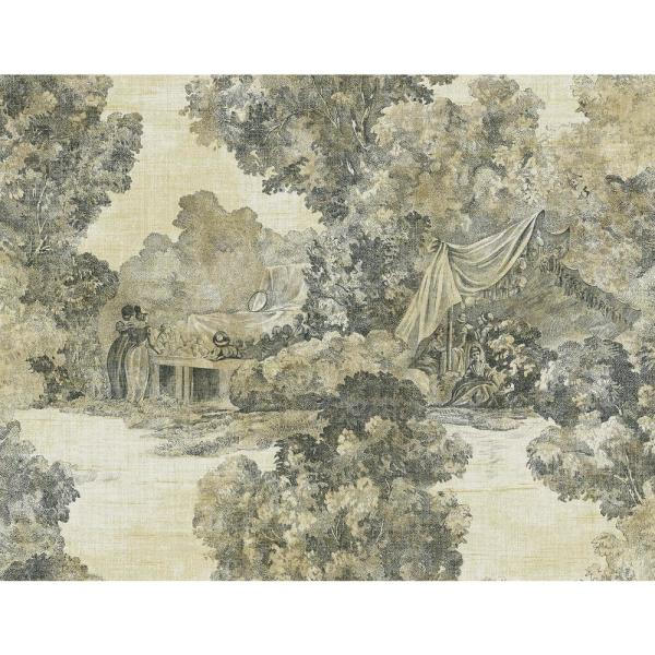 Lenox Hill Metallic Gold And Ebony Toile Wallpaper