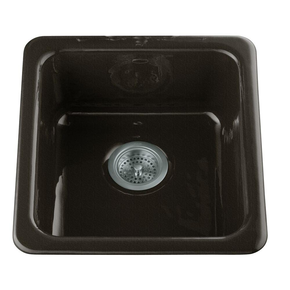 kohler single basin kitchen sink kohler dual mount cast iron 17 in single basin kitchen 8821