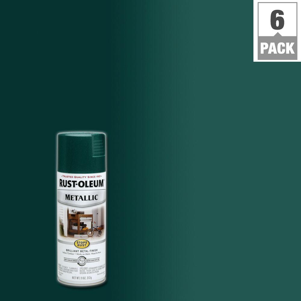 Rust Oleum Stops Rust 11 Oz Racing Green Protective Enamel Metallic Spray Paint 6 Pack
