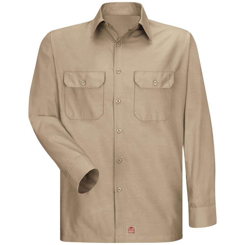 Men's Size M Khaki Solid Rip Stop Shirt
