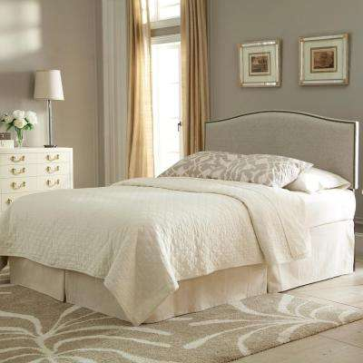 Carlisle Full/Queen-Size Upholstered Headboard Panel with Solid Wood Adjustable Frame and Nail Head Trim Design