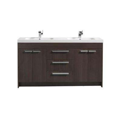 Lugano 60 in. W x 19 in. D x 34 in. H Vanity in Gray Oak with Acrylic Top in White with White Basin