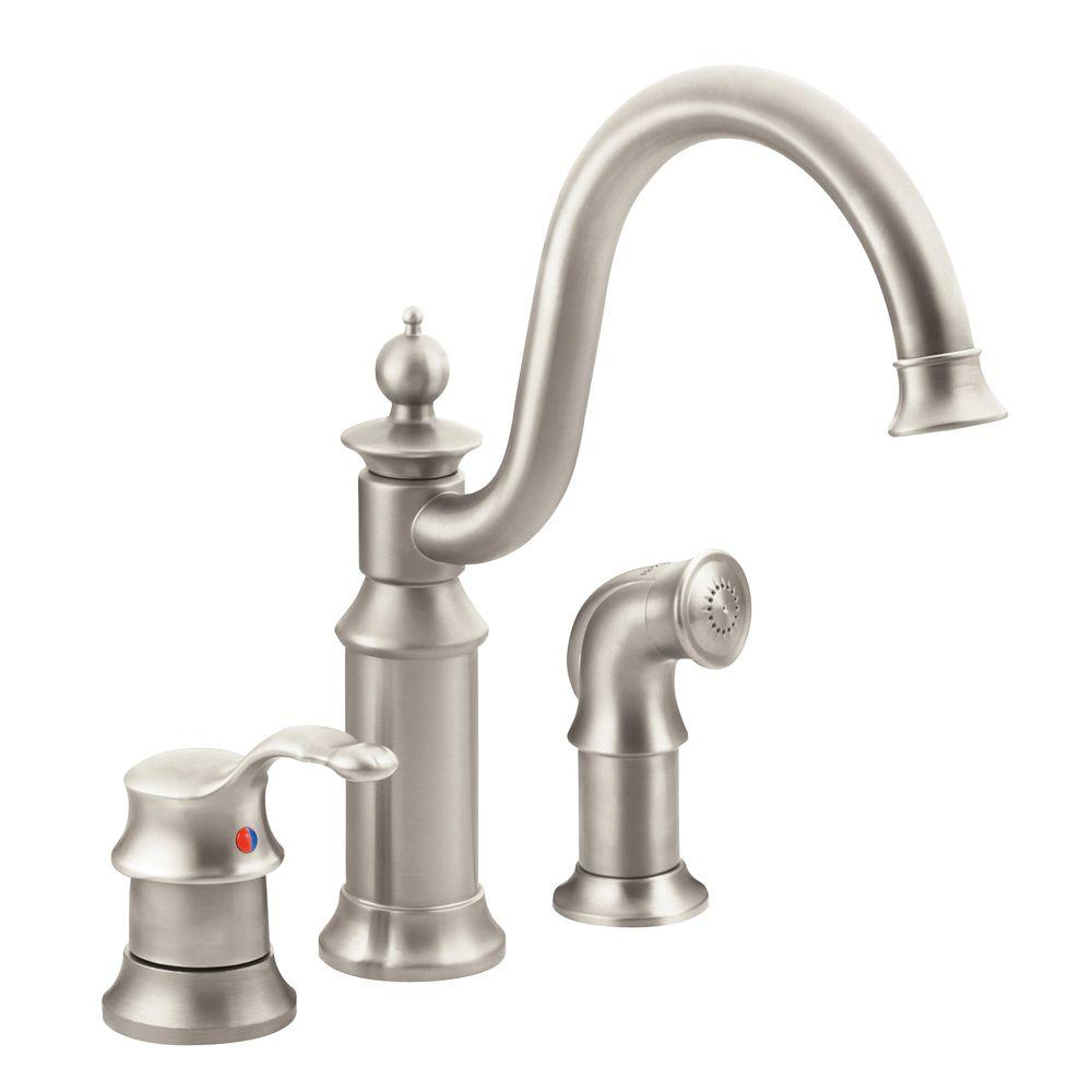 MOEN Waterhill High-Arc Single-Handle Standard Kitchen Faucet with ...