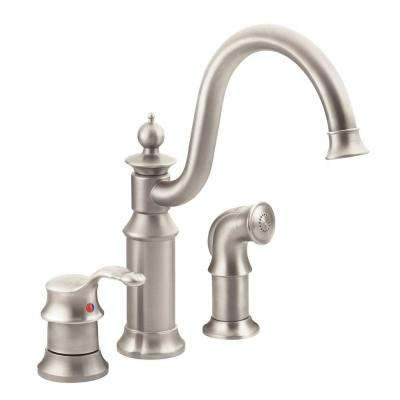 Waterhill High-Arc Single-Handle Standard Kitchen Faucet with Side Sprayer in Spot Resist Stainless