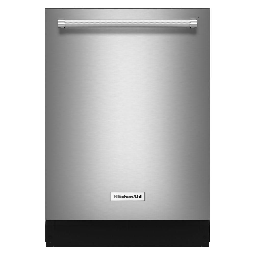 kitchenaid top control dishwasher in stainless steel with stainless rh homedepot com