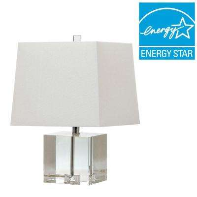 McKinley 19 in. Clear Table Lamp with Off-White Shade