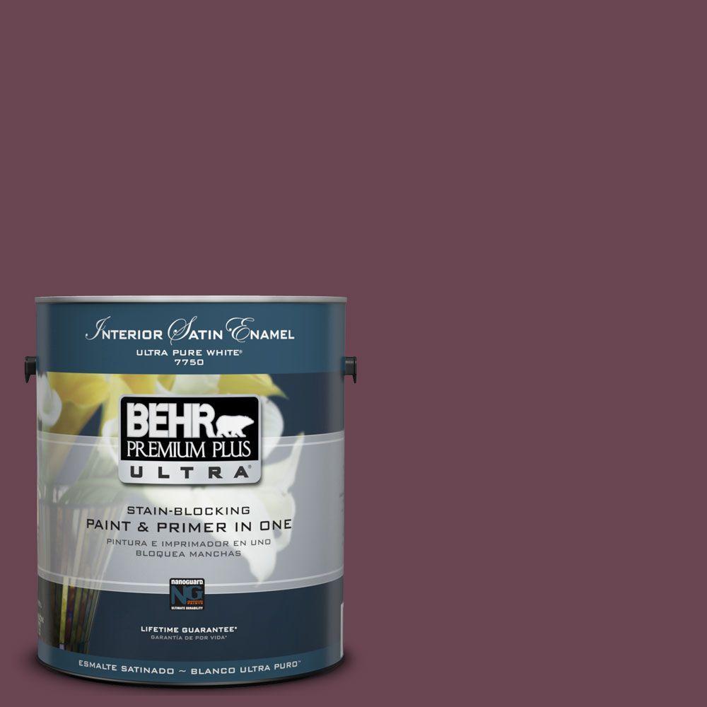 BEHR Premium Plus Ultra 1-Gal. #UL100-21 Mixed Berry Jam Interior Satin Enamel Paint