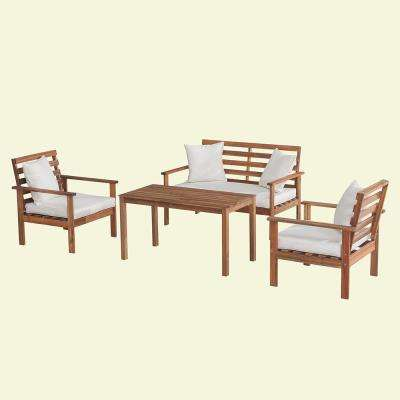 Bourbon 4-Piece Wood Patio Seating Set with White Cushions and Pillows