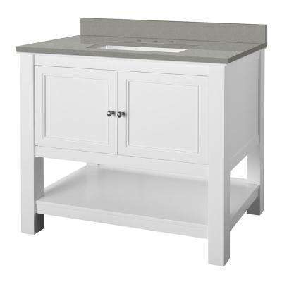 Gazette 37 in. W x 22 in. D Vanity Cabinet in White with Engineered Quartz Vanity Top in Sterling Grey with White Basin