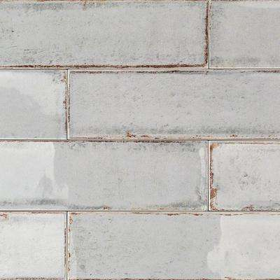 Moze Gray 3 in. x 12 in. 9mm Ceramic Subway Wall Tile Sample
