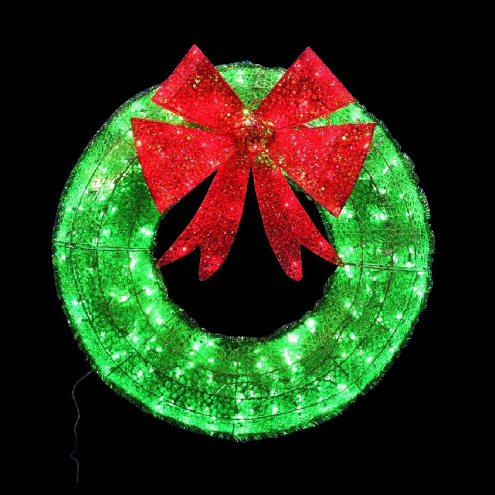 Green Tinsel Wreath With Ling Lights