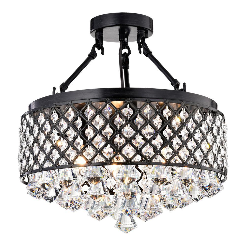 buy cheap a7303 aee43 Edvivi 4-Light Antique Black Semi-Flush Mount Beaded Crystal Chandelier