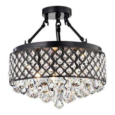 4-Light Antique Black Semi-Flush Mount Beaded Crystal Chandelier