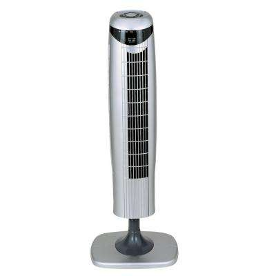 35 in. Pedestal Tower Fan with Remote Control and LED in White