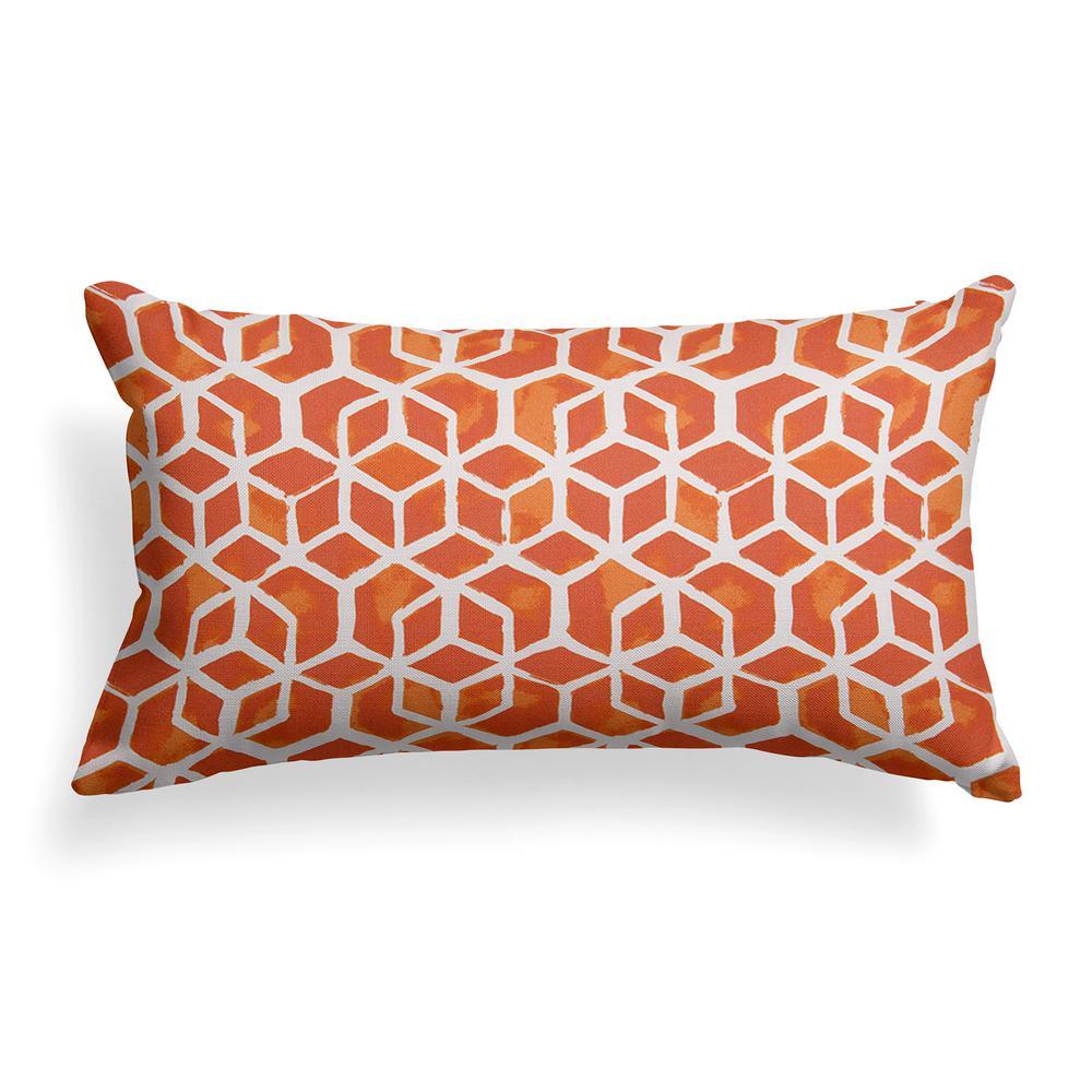 Grouchy Goose Orange Cubed Outdoor Lumbar Throw Pillow 01283 The