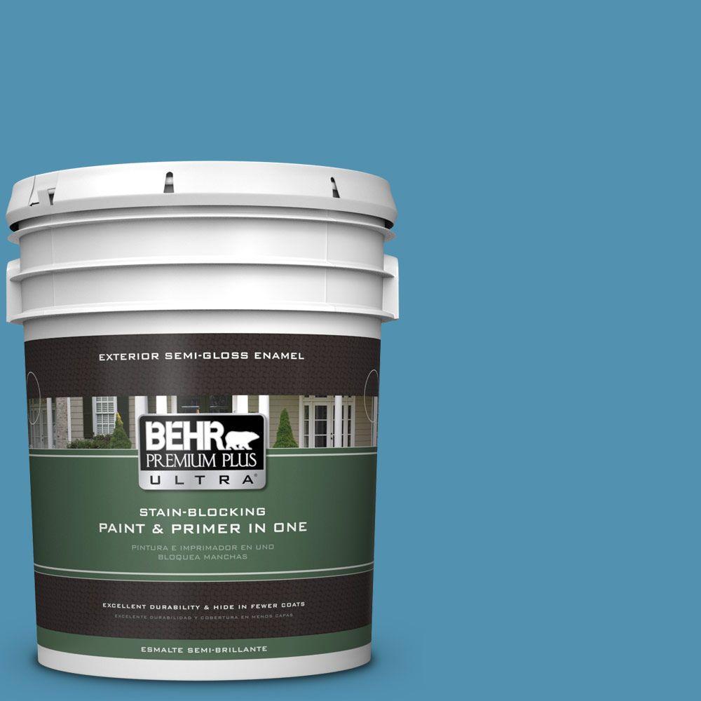 BEHR Premium Plus Ultra 5-gal. #M490-5 Jet Ski Semi-Gloss Enamel Exterior Paint