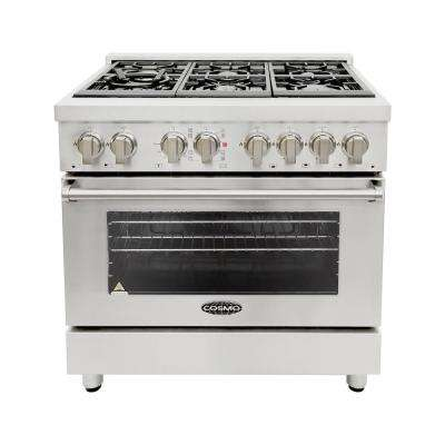 36 in. 4.5 cu. ft. Single Oven Dual Fuel Range with 6 Italian Gas Burners and Convection Oven in Stainless Steel
