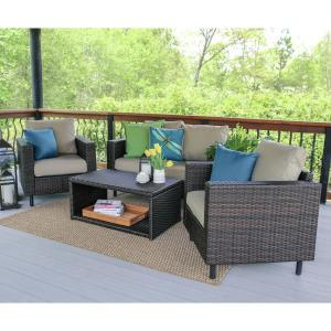 Draper 4-Piece Wicker Patio Conversation Set with Tan Cushions by