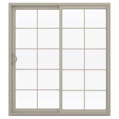 72 in. x 80 in. V-2500 Desert Sand Vinyl Left-Hand 10 Lite Sliding Patio Door w/Desert Sand Interior