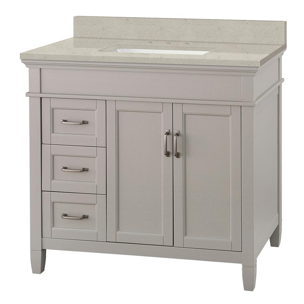 Home Decorators Collection Ashburn 37 in. W x 22 in. D Vanity Cabinet in Grey with Engineered Quartz Vanity Top in Stoneybrook with White Sink