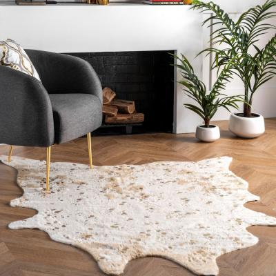 Iraida Faux Cowhide Off-White 4 ft. x 5 ft. Shaped Accent Rug