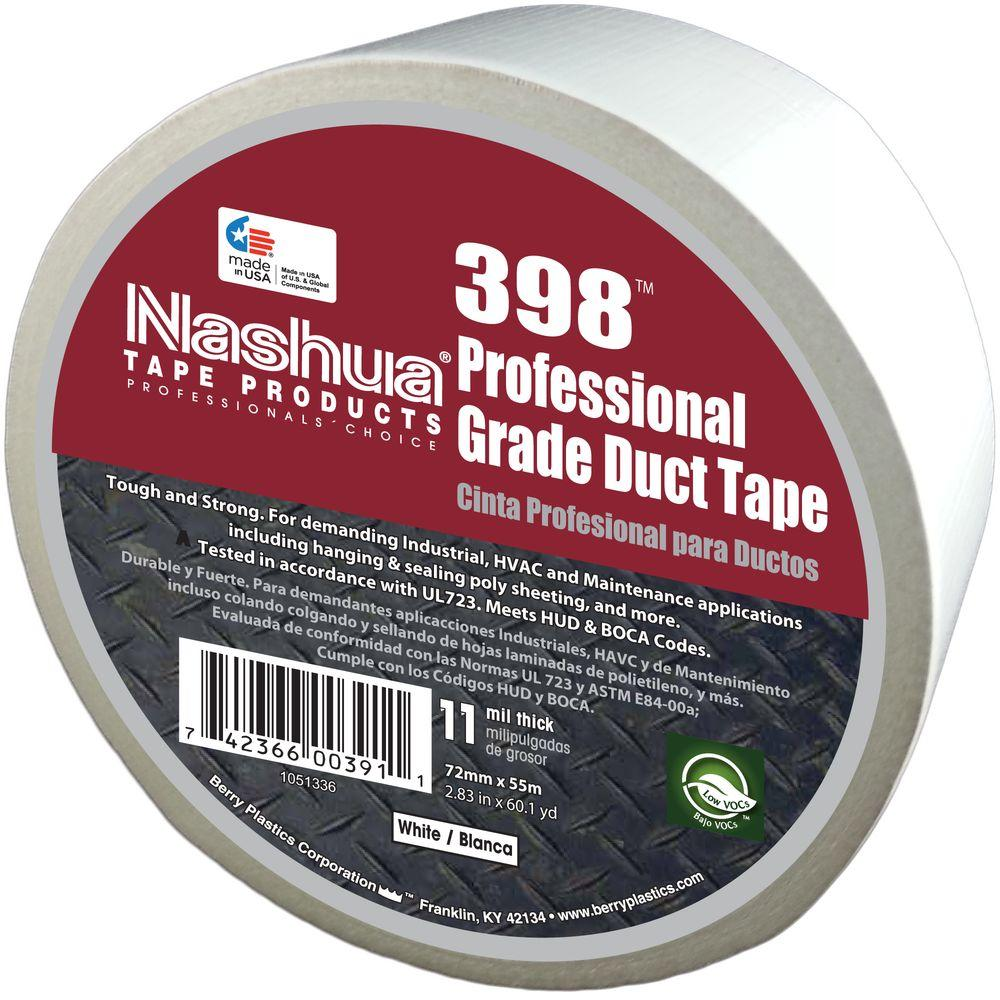 Nashua Tape 2.83 in. x 60.1 yds. 398 All-Weather Hvac Duct Tape in White, Whites Nashua Tape Trusted Tapes get the job done right, the first time, every time. Nashua Tape 398 All-Weather Duct Tape is 11 mils thick and offers durability and adhesion for even the toughest household and contractor applications. Color: Whites.