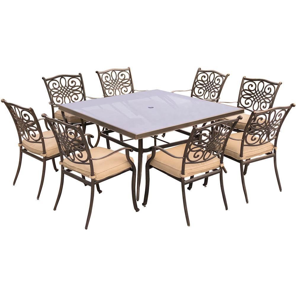 Seasons 9 Piece Aluminum Outdoor Dining Set With Square Table And Tan Cushions